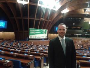 Schumacher im Plenarsaal des Europarates